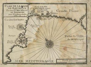 Stará mapa zálivu s mestom Palma / Malorka.sk